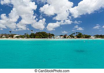 View of the Beach from a Catamaran in Carlisle Bay Barbados