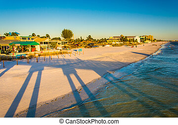 View of the beach from the fishing pier in Fort Myers Beach,...