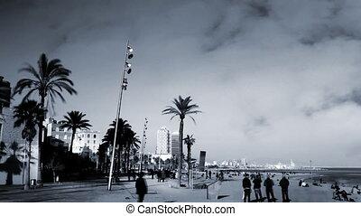 view of the beach in Barcenoleta Barcelona, Spain