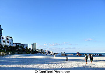 view of the beach in miami florida, photo as a background
