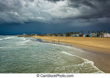 View of the beach in Venice Beach, Los Angeles, California.