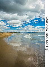 View of the beach in Venice Beach, Los Angeles, California.