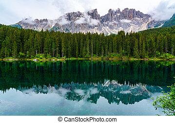 View of the beautiful Lake Carezza