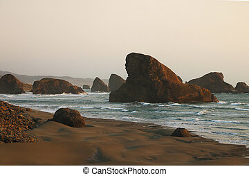 View of the beautiful rocks in the waters of the Pacific Ocean