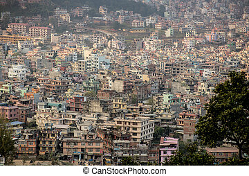 View of the big dirty city - ecological disaster