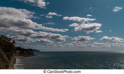 Russia. Krasnodar region. View of the Black sea and clouds from the height of the cliff at Cape Tolstoy in Gelendzhik.
