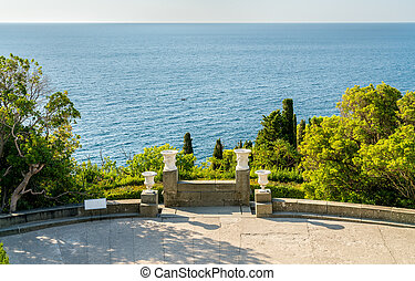 View of the Black Sea from the Vorontsov Palace in Alupka,...