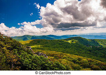 View of the Blue Ridge from Stony Man Mountain in Shenandoah...