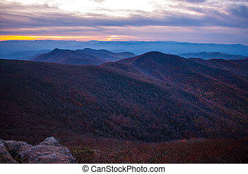 View of the Blue Ridge Mountains during fall season