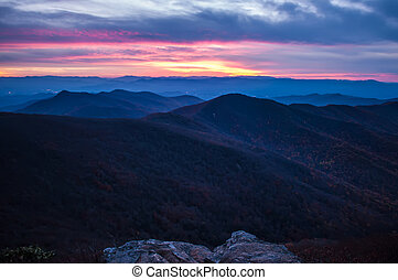 View of the Blue Ridge Mountains during fall season from...