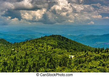 View of the Blue Ridge Mountains from Black Balsam Knob Road, near the Blue Ridge Parkway in North Carolina.