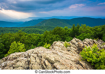 View of the Blue Ridge Mountains from Loft Mountain in...