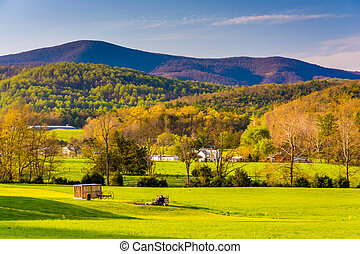 View of the Blue Ridge Mountains from the Shenandoah Valley,...