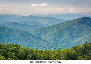View of the Blue Ridge Mountains, in Shenandoah National Park, Virginia.