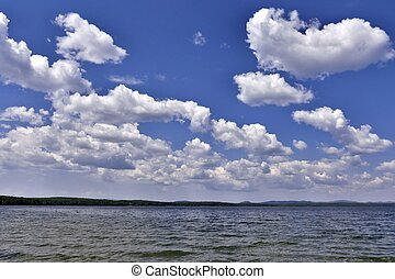 view of the blue sky over the lake with clouds