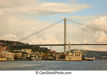 view of the Bosphorus Bridge and the Mosque