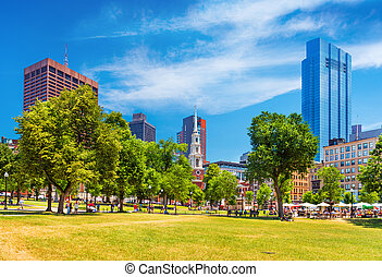 View of the Boston Common, a central public park in downtown, Massachusetts, USA