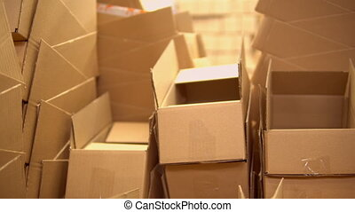 view of the boxes in the warehouse - warehouse with packing...