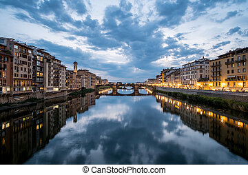 View of the Bridge and Building along Arno river in...