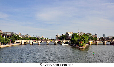 View of the bridge in city centre of Paris