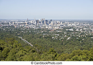 Brisbane City - View of the Brisbane City from Mount Coo-tha...