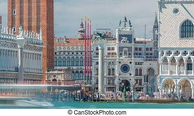 View of the Campanile di San Marco and Palazzo Ducale, from San Giorgio Maggiore timelapse, Venice, Italy.