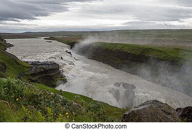 View of the canyon of Hvita river on a cloudy day. Iceland