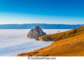 View of the Cape of Shamanka on Olkhon Island in Lake Baikal