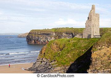 castle beach and cliffs in Ballybunion