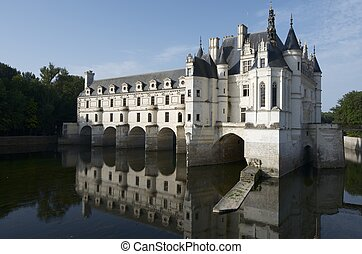 "view of the castle of Chenonceau, Loire Valley, France. Known as ""the castle of the ladies"" was built in 1513 by Katherine Briconnet, houses a collection of valuable paintings and striking good is one of the most visited in the Loire Valley."