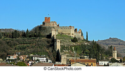 view of the Castle of Soave in the Province of Verona in Italy