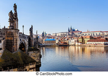 View of the Cathedral of St. Vitus, the Vltava River, Prague