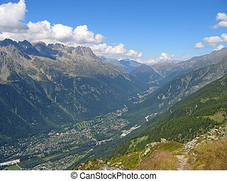 View of the Chamonix city in the valley, France, The Alps