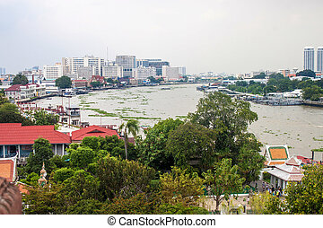 View of the Chao Phraya River in Bangkok, Thailand.