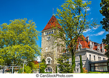 View of the Chateau d'Ouchy, a palace in Lausanne, Switzerland