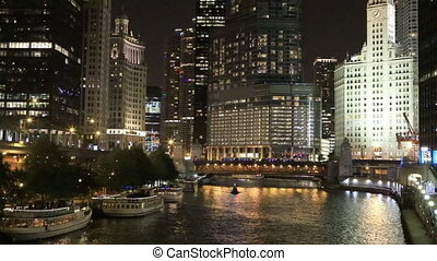 View of the Chicago Riverwalk at night