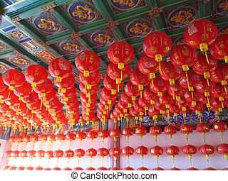 view of the Chinese lattern in temple