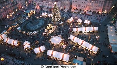 View of the Christmas market on the square in Prague.
