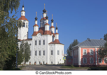 View of the Church Entrance of the Lord into Jerusalem, in the old Russian town Totma of Vologda region