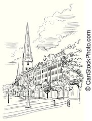 View of Hauptkirche St. Peter's Church in Hamburg, Germany. Landmark of Hamburg. Vector hand drawing illustration in black color isolated on white background.