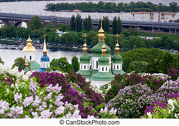 View of the Church in the Botanical Garden. Kiev.