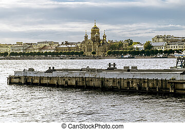 View of the Church of the assumption of the blessed virgin Mary on Vasilyevsky island in Saint Petersburg.