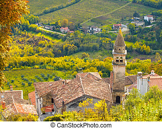 Motovun - View of the church tower in the small and historic...