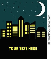 View of the city at night in the flat style, vector illustration.