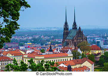 View of the city Brno, Czech Republic - View to the red ...