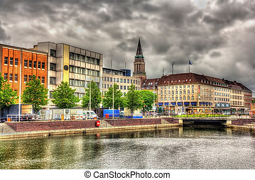 View of the city center of Kiel, Germany