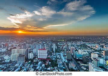 view of the city from a bird's flight. Bangkok at sunset, view from above