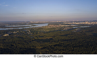 View of the city in the forest summer drone, sunny day. Ukraine, Vyshgorod