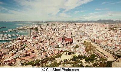 View of the city of Alicante in Spain, from the Castle of Santa Barbara.