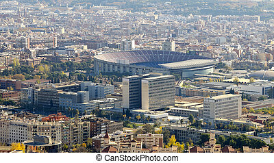 View of the city of Barcelona, with the football stadium...